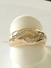 Diamond Band Ring 14k yellow Gold Swirl Design 11mm width .75 carat round diamon