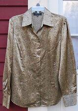 """JONES WEAR Stretch Brown/Black Long Sleeved Subtle Shimmer Shirt Size 14 (44"""")"""
