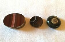 Antique agate snuff boxes and sponge holder