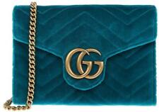NEW GUCCI GG MARMONT PETROL BLUE VELVET DOUBLE G CLUTCH SMALL CROSSBODY BAG