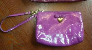 COACH - Purple Patent Leather  Wristlet Clutch Heart Charm
