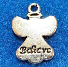 "50Pcs. WHOLESALE Tibetan Silver ""BELIEVE"" ANGEL Charms Pendants Ear Drops Q1136"