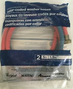 2 Color-Coded Washer Hoses 5 Ft Each For Whirlpool, Maytag, Amana, Roper G1