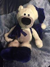Kuschelwuschel Teddy Weihnachten weiß blaue Mütze Sack Plüsch Eis Bär 34 cm groß