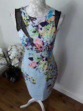 Karen Millen wiggle midi dress sheer net panel multi coloured floral UK 12 10