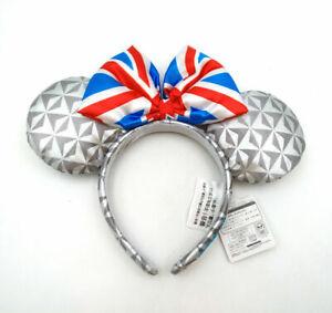 Disney Park Bow United Kingdom Epcot Flag Mickey Minnie Mouse Ears Headband