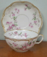 Haviland Schleiger Cup & Saucer Dainty Flowers Double Gold 58F Larger Size
