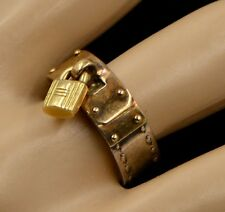 """TriColor Hermes 18k Yellow Gold 925 Silver """"H"""" Padlock Band Ring Size EU52 US 6"""