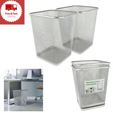 Mesh Wastebasket Trash Can Square 6 Gallon Silver 2 Pack Cleaning Supplies New