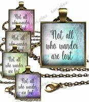 Not All Who Wander are Lost Quote Glass Top Pendant with Rolo Necklace