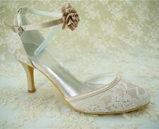 Stunning Handmade Ivory Lace Bridal Shoes Mary Janes Lace Wedding Shoes UK3-8
