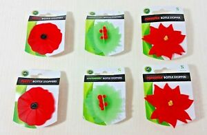 Charles Viancin Flexible Silicone Poppy Poinsettia Winterberry Bottle Stoppers