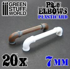 Plasticard Pipe ELBOWS - 7 mm - HIPS Polystyrene - Pipeline Tubing