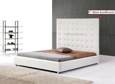 #4007 Gorgeous Modern Queen Size White PU Leather bed