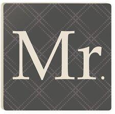 Mr & Mrs Black Tie Wedding Ceramic Coasters, Set of 4