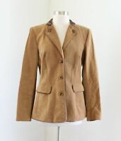 J McLaughlin Brown Tan Corduroy Riding Blazer Jacket Size 6 Bold Lining Fall