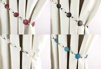 PAIR of Roma Design Modern Bead and Metal Curtain Tiebacks Holdbacks 4 Colours