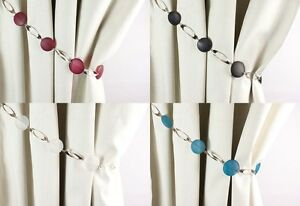 PAIR of Roma Design Modern Bead and Metal Curtain Tiebacks Holdbacks 4 Colours