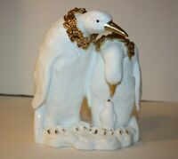 White Porcelain Penguin Family with Gold Accents Hand Painted Fine Holiday Decor
