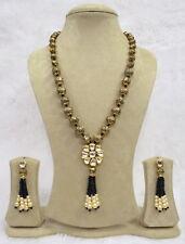 BabosaSakhi Ethnic Antic Carving Black Onyx Bead Kundan Long Necklace Earring T6