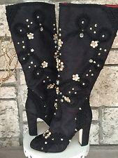 New DOLCE & GABBANA Black Jeweled & Studded Satin Knee-High Boots 39