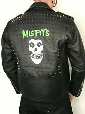 Misfits Leather Jacket - Professionally Painted With Crimson Ghost Punk Skull