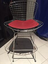 Mid Century Vintage Bertoia Wire Bar Stool,Chair, Chrome,Orange Leatherette Seat