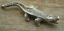 Miniature Birmingham Hallmarked Sterling Silver Study Of A Crocodile / Alligator