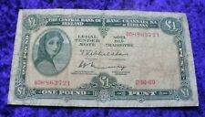 1969 Irish Lady Lavery One Pound Banknote Old Vintage Ireland £1 Note A Series