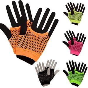 80s Fishnet Short Mesh Gloves Neon Fancy Dress Accessory Rave Punk Ladies Rock