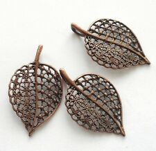 "3pcs-1.5""  red Copper  filigree leaf charm pendant"