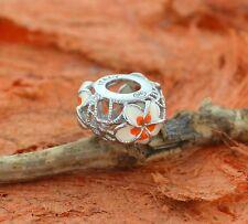 Enamel Plumeria Beads -Sterling Silver-Bracelet,Charm,Girl's Jewelry,Cute,Flower