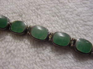 Vintage antique STERLING SILVER with JADE lady watch band +