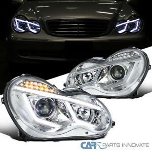 Fit Mercedes 01-07 Benz W203 C-Class Clear LED DRL & Signal Projector Headlights