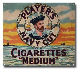 "PLAYER'S NAVY CUT CIGARETTES ""MEDIUM"" REPRODUCTION METAL SIGN. MANCAVE-PUB-HOME."