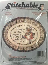 "Stitchables Cross Stitch Kit A Daughter Is A Friend 5""x7"" Oval"