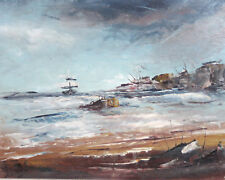 Contemporary impressionist oil painting seascape signed