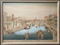 Stadtansicht Antik Kanal Venedig 19. Jahrundert Boote Personen Architektur Naiv