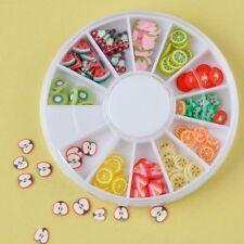 Acrylic Sticker Rhinestones Fimo Clay Nail Art 3D Fruit Slices Manicure Wheel