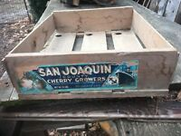 Vintage Wood Fruit Crate Cherry Port Stockton Blue Anchor Shipping
