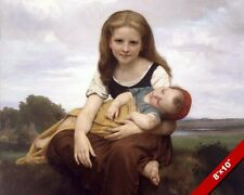 YOUNG GIRL SISTER CARING FOR BABY CHILD PAINTING ART REAL CANVAS GICLEE PRINT