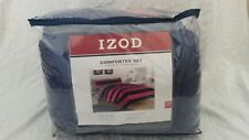 Izod Comforter Set Traditional Rugby Stripe Pink and Navy Full/Queen New In Bag