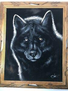"""David Ortiz Original Black Velvet Wolf Painting 23""""x19"""" Signed Ortiz EXC"""