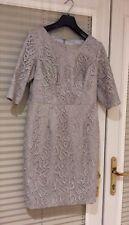 GINA BACCONI Silver Grey Lace Short Dress 1/2 Sleeves Size 12