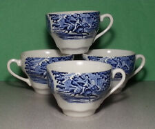 Liberty Blue Colonial Scene Coffee Cup Set of 4 with Paul Revere Midnight Ride