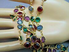 "Bezel Set Swarovski Crystal Necklace Multi Color Gold Plated Links 35"" Long NICE"