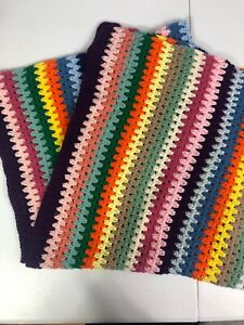 Crochet Child Baby Blanket Multi Color Striped Project Linus Never Used Handmade