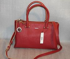 DKNY Bryant Park Saffiano Womens Leather Satchel Handbag in Brick Red Color