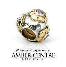 PANDORA Silver, 14ct Gold Pink Zirconia Flower Ball Charm 790207PCZ RRP£100!!!