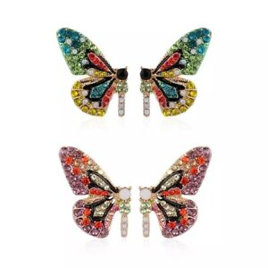 ZARD Butterfly Wings Stud Earrings with Multi-Color Crystal Rhinestone Accents